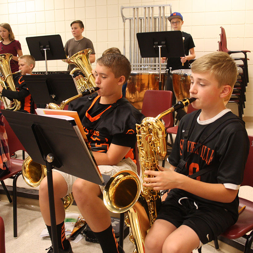 Middle school band students