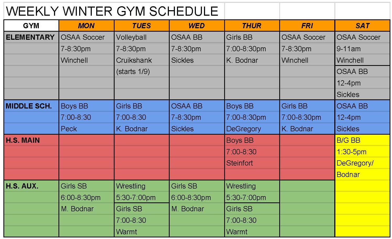 Winter gym schedule