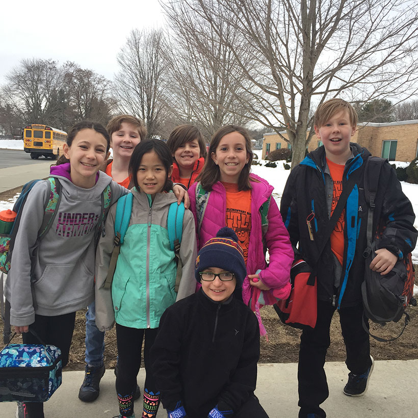 Students on their way to Battle of the Books