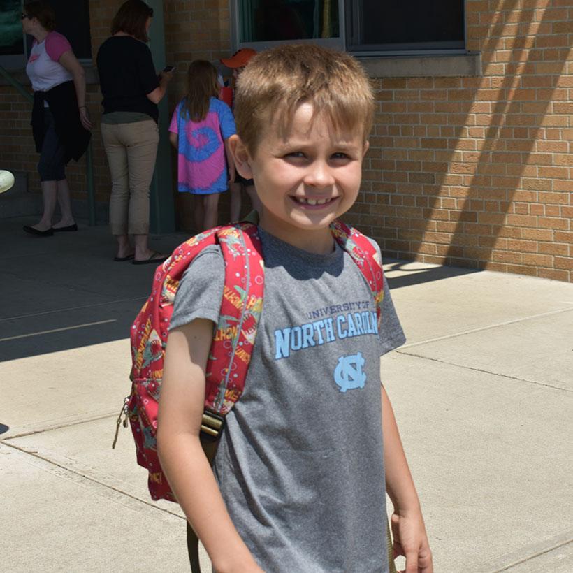 Elementary School student on last day of school