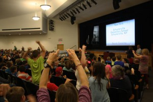 Students celebrate after learning that Schuylerville Elementary School was named a 2016 U.S. Department of Education Green Ribbon School award honoree.