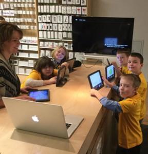 Students on Apple Field Trip
