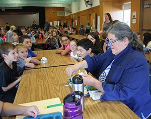 Assemblywoman Woerner eats lunch with Schuylerville Elementary School students on Tuesday, Oct. 18.