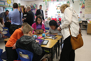 Site visit in fifth grade room