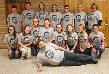 Students pose with Mr. Burleigh
