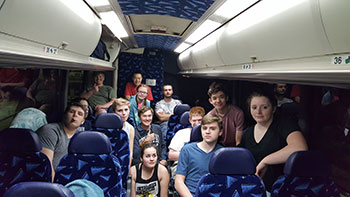Members of the robotics team on their way to St. Louis
