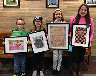 Student artists who had their work selected for district's permanent collection