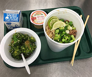 Japanese ramen noodle soup with sesame broccoli