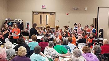 Band and chorus students performing