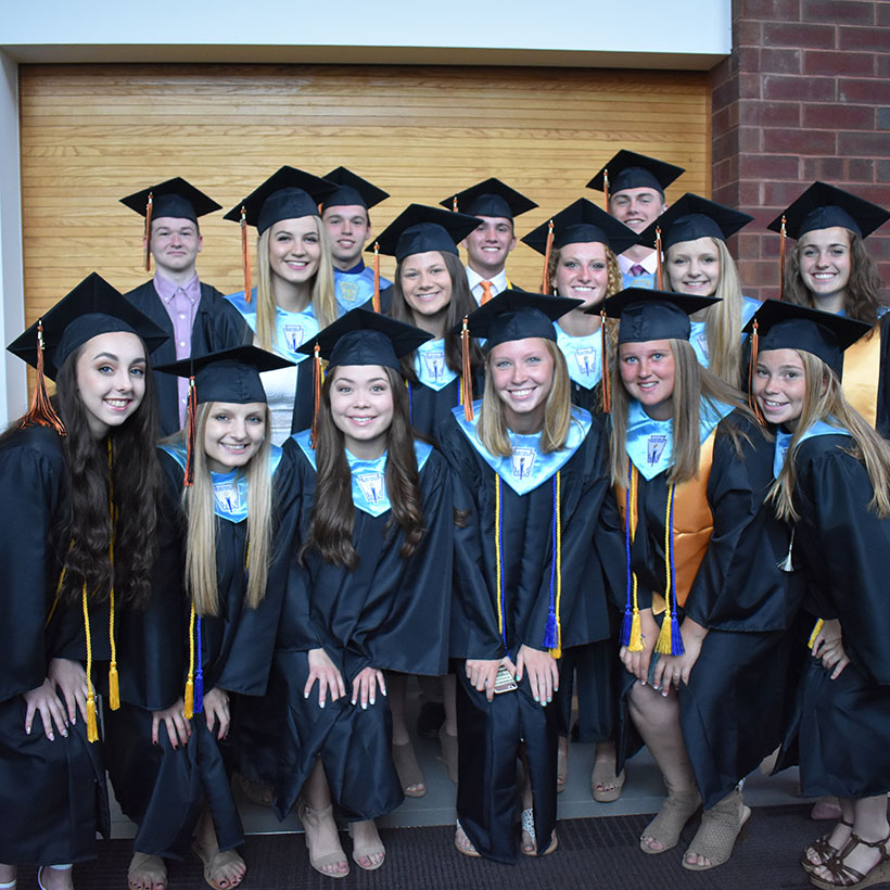 Students from the Class of 2018 at graduation