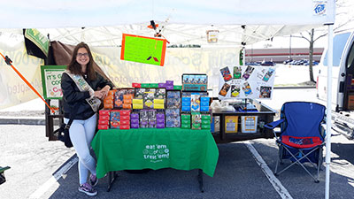 Schuylerville senior Sierra Rechak poses for a photo at her Girl Scout cookie booth in the parking lot of Rite Aid in Wilton.