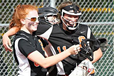 Schuylerville softball team celebrates win.