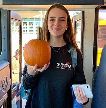 Freshman with pumpkins