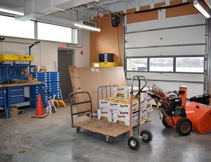 A loading dock and custodial office areas