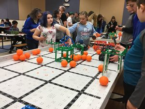 Students compete in the competition using 3 inch diameter balls and 7 inch diameter cubes