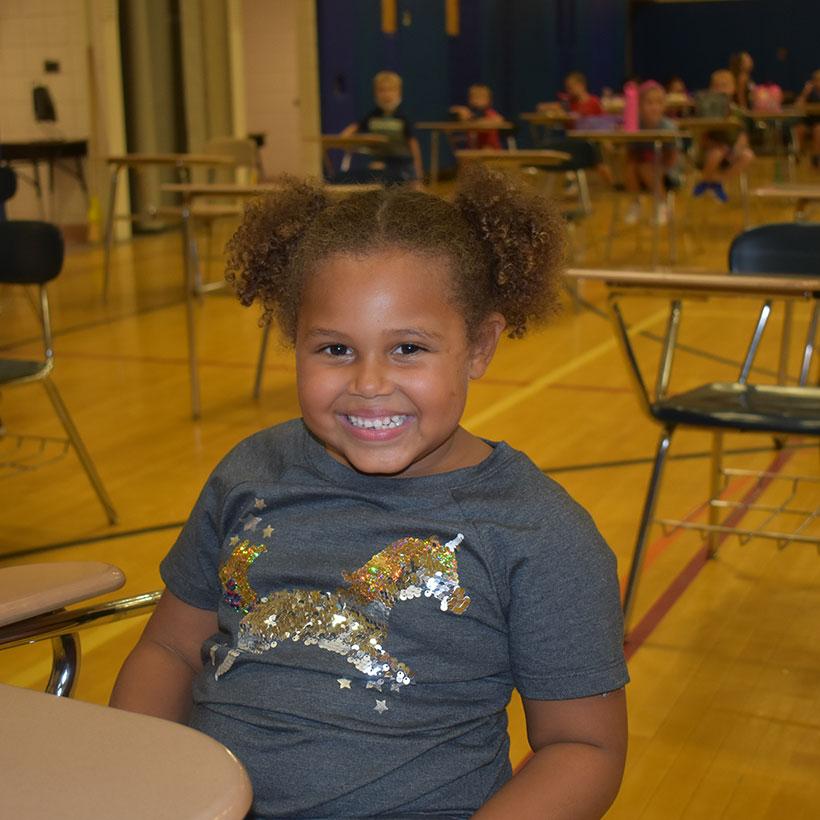 Schuylerville Elementary student eats lunch