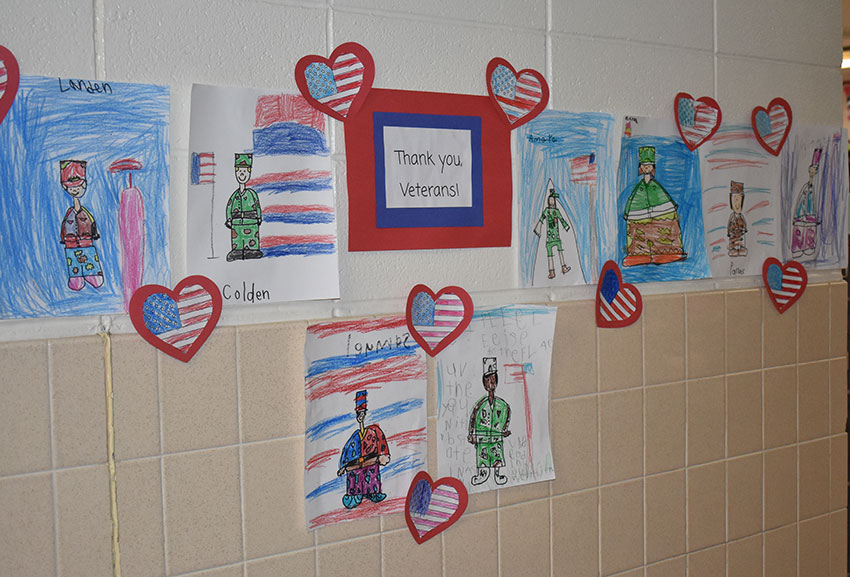 Veterans Day art in the hallway