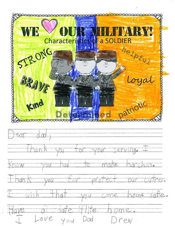 Second graders write notes of thanks to active service members