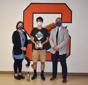 School Counselor Sarah Rust, Cameron Wian & Principal James Ducharme.