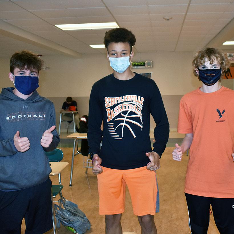 High school athletes show school spirit