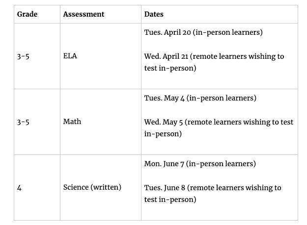grades 3-5 assessment schedule