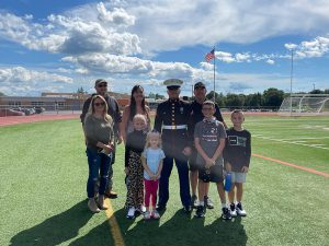 The Decker and Weed families welcome PFC Decker home.